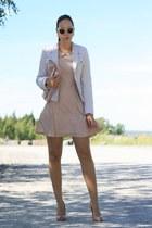 light pink Primark dress - ivory yest blazer - neutral clutch Primark bag