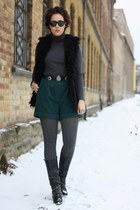 turtleneck Primark shirt - Buffalo boots - Primark shorts - fur New Yorker vest