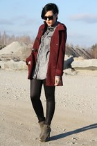 brick red Primark coat - heather gray fruleinmode boots