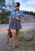 spottet skirt and jeans blouse