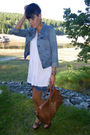 White-yest-dress-blue-primark-jacket-blue-unknown-skirt-brown-deichmann-sh