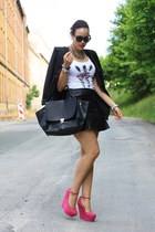 black Sheinside blazer - white likoli shirt - black leather H&M skirt