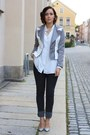 Gray-cheap-monday-jeans-silver-romwe-jacket-white-python-h-m-pumps