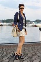 H&M blazer - stripes Zara shirt - Primark bag - OASAP heels