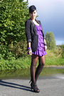 Purple-h-m-dress-black-only-blazer-black-primark-shoes