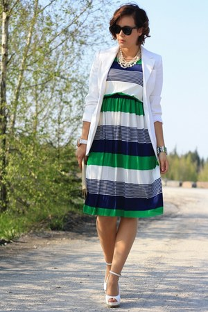 navy dress - white H&amp;M blazer - cream roberta farc wedges