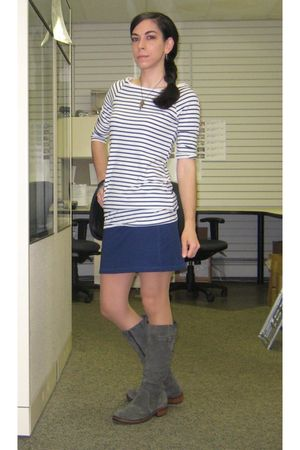 white H&M dress - blue Old Navy skirt - silver Target boots - gold Talonalia nec