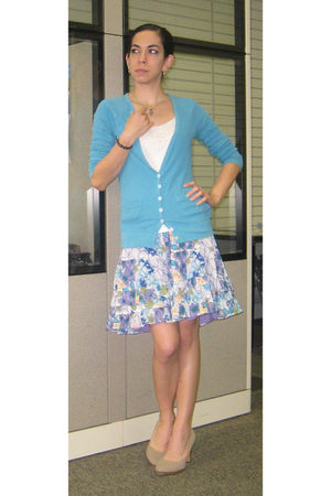 blue Old Navy cardigan - white Old Navy top - blue Old Navy skirt - beige payles