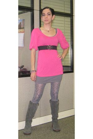 pink Old Navy shirt - gray Target dress - gray Betsey Johnson tights - gray Targ