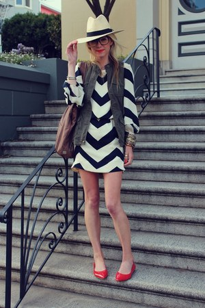 H&amp;M hat - dvf dress - Kooba bag - Old Navy vest - BR flats