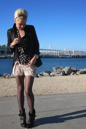 H&M tights - Givenchy shoes - BR Monogram sweater - BR Monogram blazer
