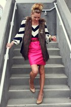 dvf blouse - rachel roy skirt - rachel roy vest - banana republic heels - Chanel