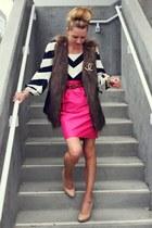 dvf blouse - rachel roy skirt - rachel roy vest - banana republic heels - Chanel