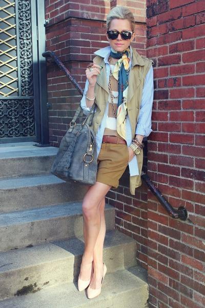 YSL purse - UO jacket - Zara sweater - Karen Walker sunglasses