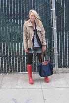 banana republic blazer - Hunter boots - Zara jacket - longchamp bag