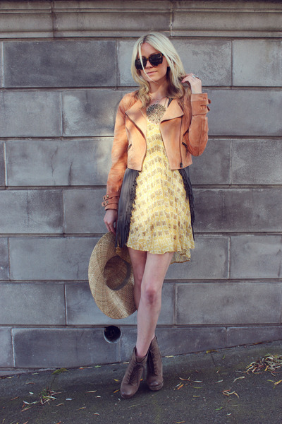 Luxury Rebel boots - tracy reese dress - H&M hat - H&M jacket - Karen Walker sun