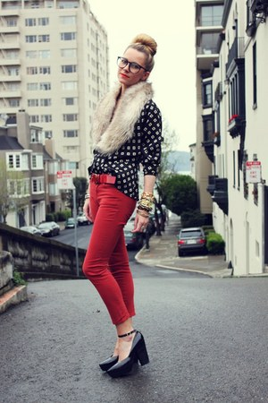 vintage blouse - H&amp;M scarf - BDG pants - Jil Sander heels