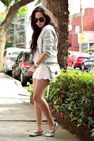 white cross Zara bag - white shorts Front Row Shop shorts