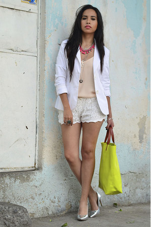 chartreuse Zara bag - white Bershka blazer - ivory lace OASAP shorts