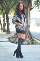 silver metallic Isabel Marant jacket - black ankle boots GoJane boots