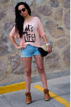 peach pull&bear shirt - brown animal print pull&bear bag - navy diy Guess shorts