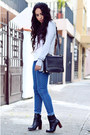 Black-leather-zara-boots-blue-denim-bershka-jeans
