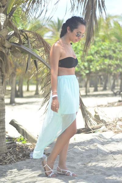 black crop top Bershka top - aquamarine Zara skirt - white Oysho sandals