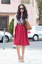 brick red midi Choies skirt - heather gray cotton Zara sweater