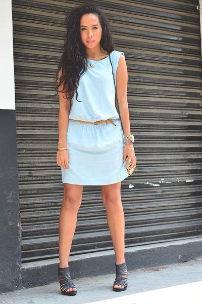 sky blue denim dress Zara dress - ivory polka dot Zara bag