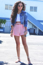 red striped Zara shorts - navy denim pull&bear jacket - nude asos sunglasses