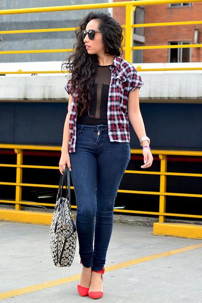ruby red plaid shirt pull&bear blouse - navy skinny jeans Zara jeans