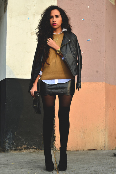 black leather Zara jacket - black GoJane boots - tawny knit Zara sweater