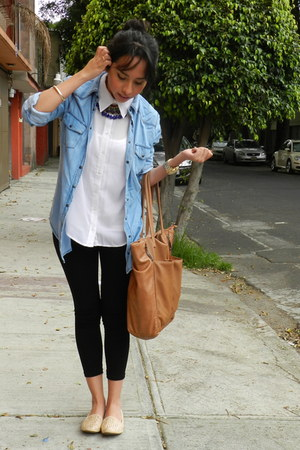 blue denim Zara blouse - white Zara shirt - bronze Bershka bag