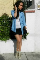 silver GoJane sneakers - black Zara skirt - sky blue denim Zara blouse