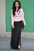 light pink Forever 21 sweater - black Zara skirt - black Zara heels