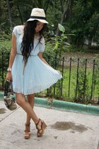 sky blue OASAP dress - ivory LOB hat - dark brown coach bag