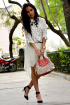 black Zara heels - carrot orange coach bag - ivory Zara skirt