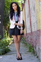 light pink Zara blazer - black Forever21 skirt - aquamarine Zara blouse