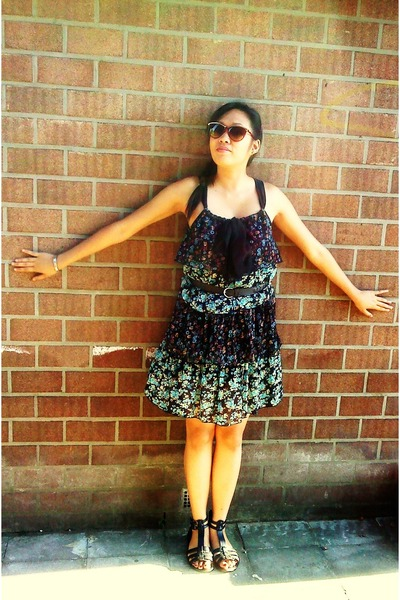 gray brandless dress - orange from Ebay shoes - orange sunglasses accessories -