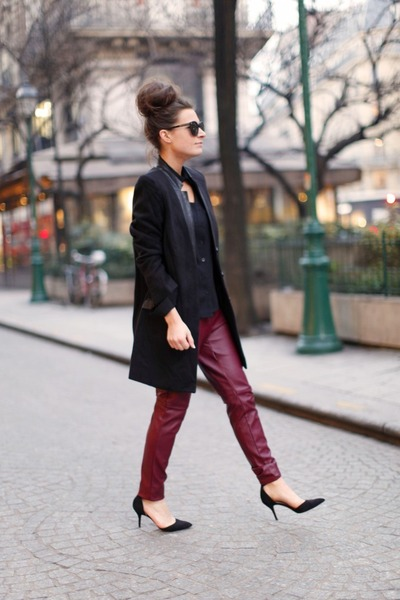 brick red H&M pants - black Zara heels