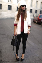 white H&M hat - black Zara leggings - maroon top