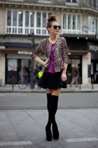 camel Fashion Union blazer - purple Fashion Union top - black Chicwish skirt
