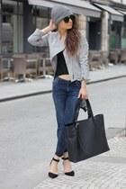 silver Amanda Wakeley jacket - navy jeans - black asos heels