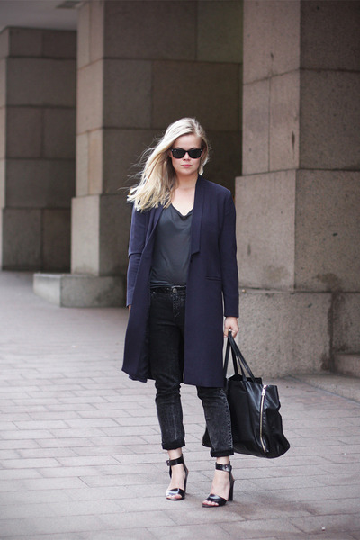 Weekday Collection coat - black Celine bag - COS t-shirt - whyred sandals