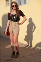 dark brown vintage boots - black American Apparel shirt - tan vintage shorts - v