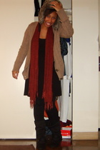 H&M - scarf - my roommates - H&M dress - - amiclubwearcom