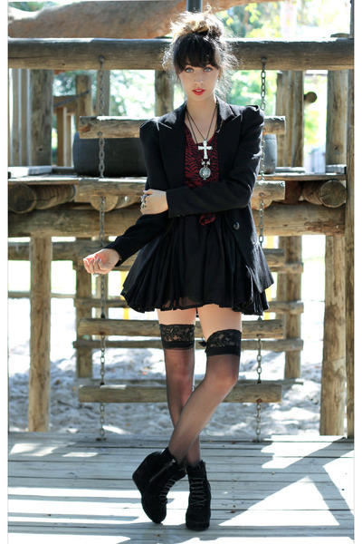 black bardot dress - black bardot blazer - crimson bardot shirt