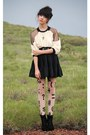 black Valleygirl skirt - black American Apparel tights