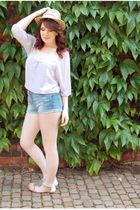purple Topshop blouse - blue River Island shorts - white Miss Selfridge shoes -