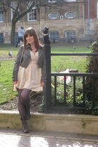 gray new look jacket - gray H&M tights - gray River Island boots - beige Primark